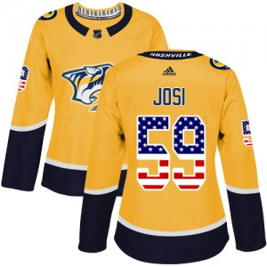 Roman Josi Nashville Predators Women's Adidas Authentic Gold USA Flag Fashion Jersey