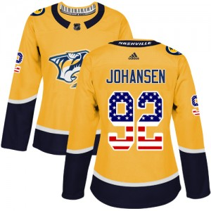 Ryan Johansen Nashville Predators Women's Adidas Authentic Gold USA Flag Fashion Jersey