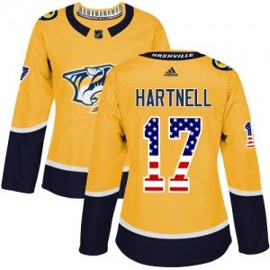 Scott Hartnell Nashville Predators Women's Adidas Authentic Gold USA Flag Fashion Jersey