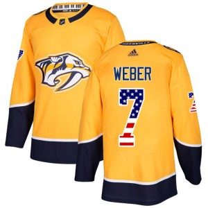Yannick Weber Nashville Predators Men's Adidas Authentic Gold USA Flag Fashion Jersey