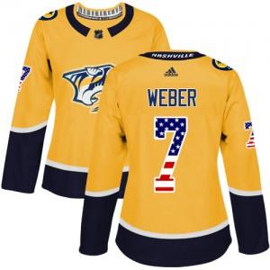 Yannick Weber Nashville Predators Women's Adidas Authentic Gold USA Flag Fashion Jersey