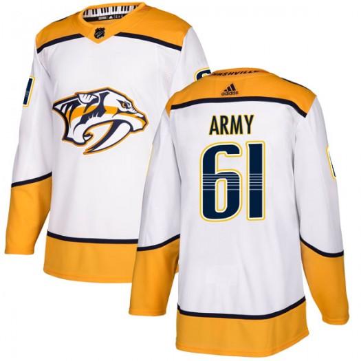 Derek Army Nashville Predators Men's Adidas Authentic White Away Jersey