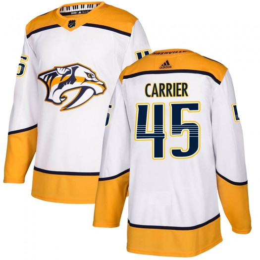 Alexandre Carrier Nashville Predators Men's Adidas Authentic White Away Jersey