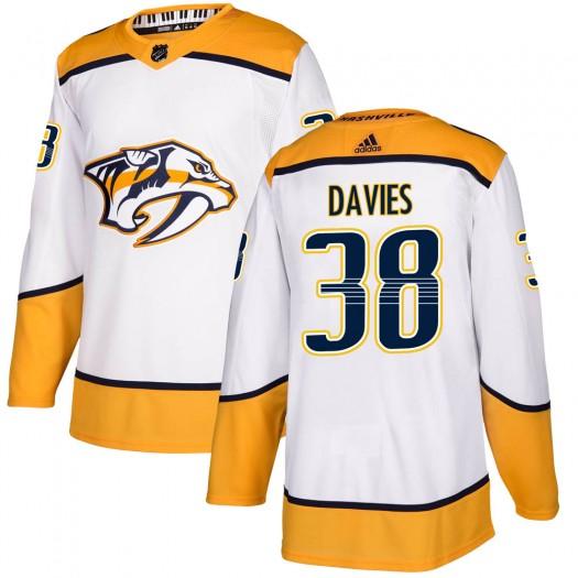 Jeremy Davies Nashville Predators Men's Adidas Authentic White Away Jersey