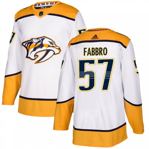 Dante Fabbro Nashville Predators Men's Adidas Authentic White Away Jersey