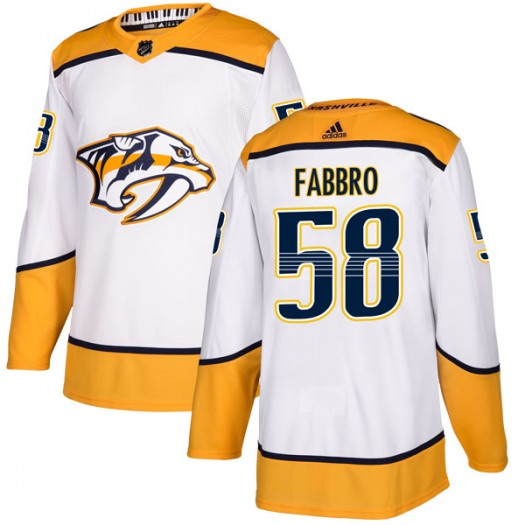 Dante Fabbro Nashville Predators Men's Adidas Authentic White Away Jersey
