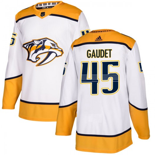Tyler Gaudet Nashville Predators Men's Adidas Authentic White Away Jersey