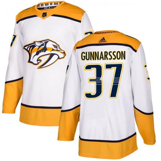 Jonas Gunnarsson Nashville Predators Men's Adidas Authentic White Away Jersey