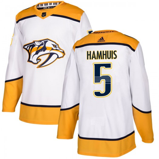 Dan Hamhuis Nashville Predators Men's Adidas Authentic White Away Jersey