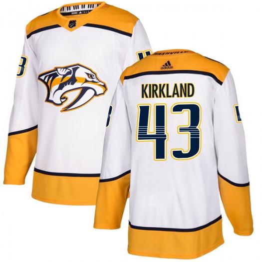 Justin Kirkland Nashville Predators Men's Adidas Authentic White Away Jersey