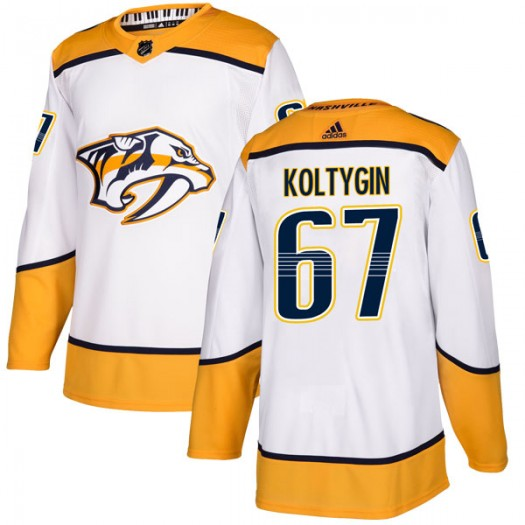 Pavel Koltygin Nashville Predators Men's Adidas Authentic White Away Jersey
