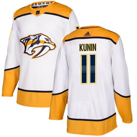 Luke Kunin Nashville Predators Men's Adidas Authentic White Away Jersey