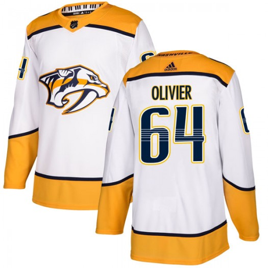 Mathieu Olivier Nashville Predators Men's Adidas Authentic White Away Jersey