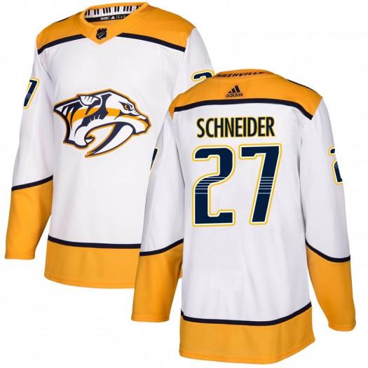 Cole Schneider Nashville Predators Men's Adidas Authentic White Away Jersey