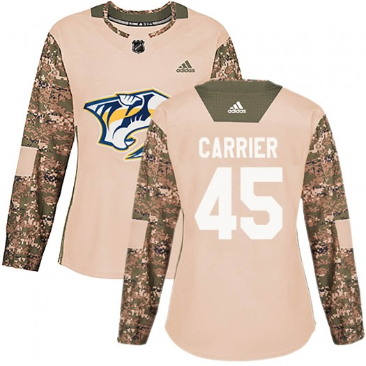 Alexandre Carrier Nashville Predators Women's Adidas Authentic Camo Veterans Day Practice Jersey
