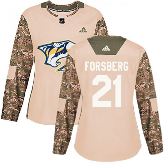 Peter Forsberg Nashville Predators Women's Adidas Authentic Camo Veterans Day Practice Jersey