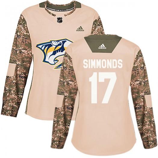 Wayne Simmonds Nashville Predators Women's Adidas Authentic Camo Veterans Day Practice Jersey