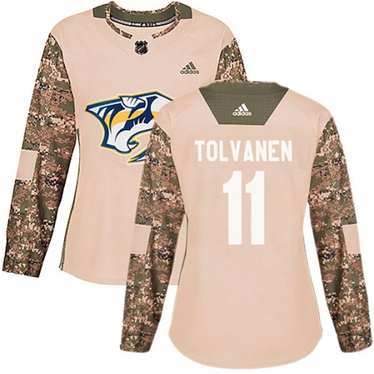 Eeli Tolvanen Nashville Predators Women's Adidas Authentic Camo Veterans Day Practice Jersey