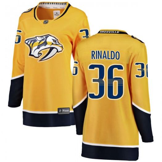 Zac Rinaldo Nashville Predators Women's Fanatics Branded Yellow Breakaway Home Jersey