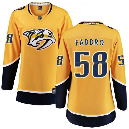Dante Fabbro Nashville Predators Women's Fanatics Branded Yellow Home Breakaway Jersey