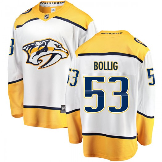 Brandon Bollig Nashville Predators Youth Fanatics Branded White Breakaway Away Jersey