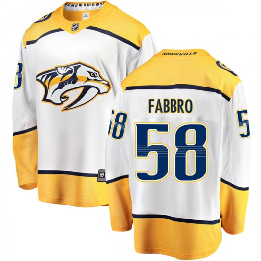 Dante Fabbro Nashville Predators Youth Fanatics Branded White Breakaway Away Jersey