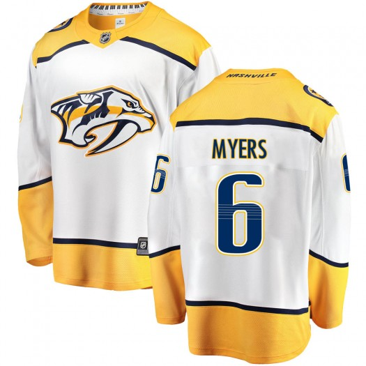 Philippe Myers Nashville Predators Youth Fanatics Branded White Breakaway Away Jersey