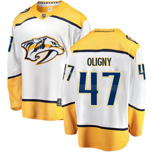 Jimmy Oligny Nashville Predators Youth Fanatics Branded White Breakaway Away Jersey