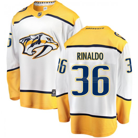 Zac Rinaldo Nashville Predators Youth Fanatics Branded White Breakaway Away Jersey