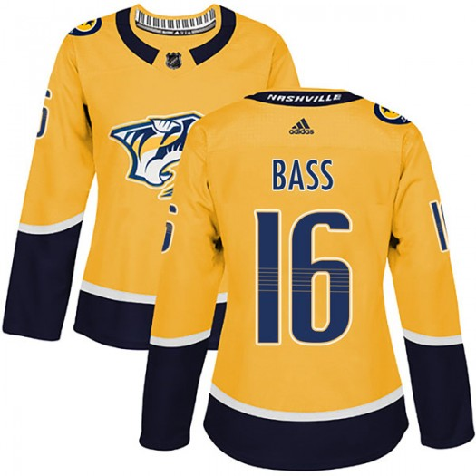 Cody Bass Nashville Predators Women's Adidas Authentic Gold Home Jersey