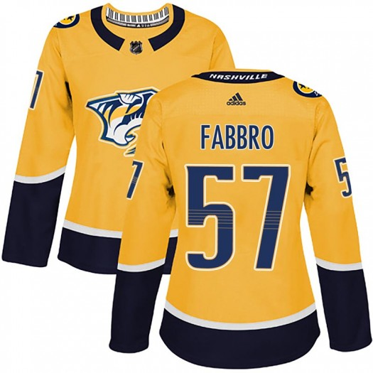 Dante Fabbro Nashville Predators Women's Adidas Authentic Gold Home Jersey