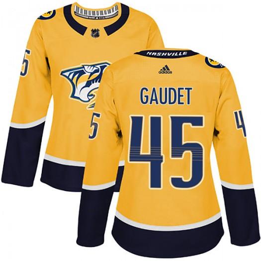 Tyler Gaudet Nashville Predators Women's Adidas Authentic Gold Home Jersey