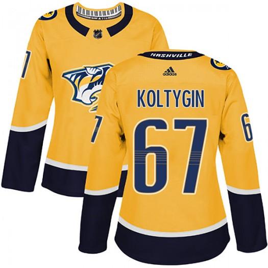 Pavel Koltygin Nashville Predators Women's Adidas Authentic Gold Home Jersey