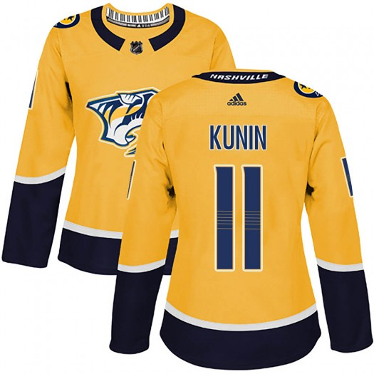 Luke Kunin Nashville Predators Women's Adidas Authentic Gold Home Jersey