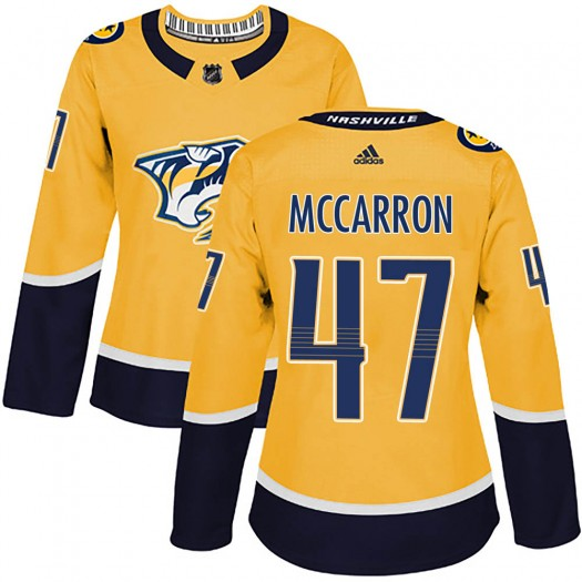 Michael McCarron Nashville Predators Women's Adidas Authentic Gold ized Home Jersey