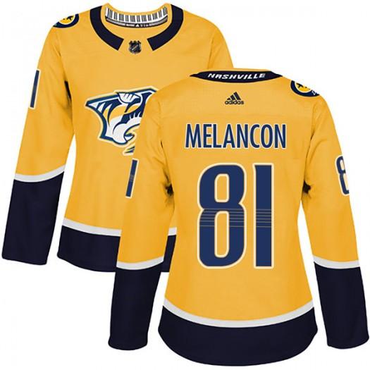 T.J. Melancon Nashville Predators Women's Adidas Authentic Gold Home Jersey