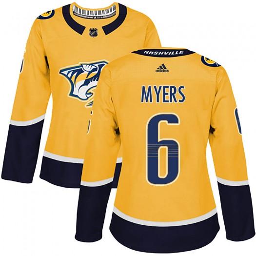 Philippe Myers Nashville Predators Women's Adidas Authentic Gold Home Jersey