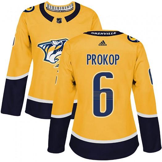 Luke Prokop Nashville Predators Women's Adidas Authentic Gold Home Jersey