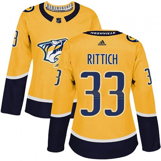 David Rittich Nashville Predators Women's Adidas Authentic Gold Home Jersey
