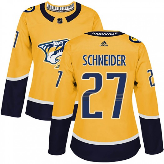 Cole Schneider Nashville Predators Women's Adidas Authentic Gold Home Jersey