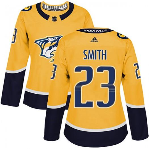 Trevor Smith Nashville Predators Women's Adidas Authentic Gold Home Jersey