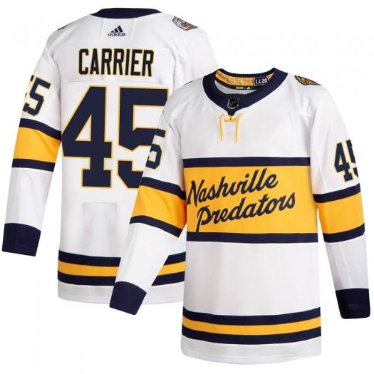 Alexandre Carrier Nashville Predators Men's Adidas Authentic White ized 2020 Winter Classic Player Jersey