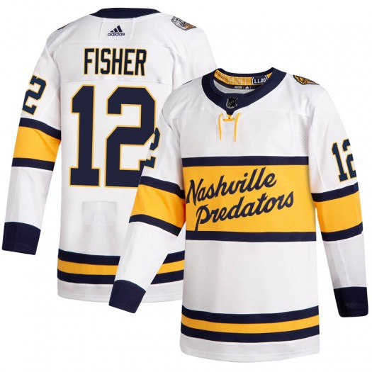 Mike Fisher Nashville Predators Men's Adidas Authentic White 2020 Winter Classic Jersey
