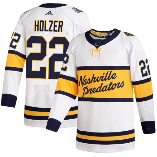 Korbinian Holzer Nashville Predators Men's Adidas Authentic White ized 2020 Winter Classic Player Jersey