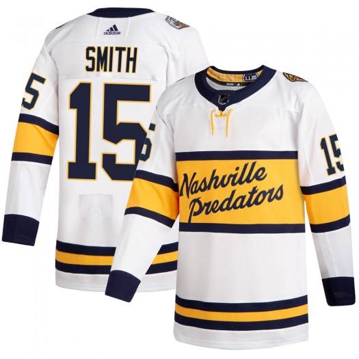 Craig Smith Nashville Predators Men's Adidas Authentic White 2020 Winter Classic Jersey