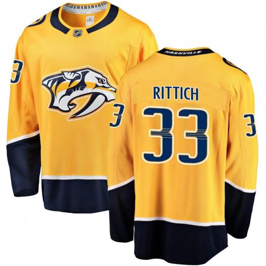 David Rittich Nashville Predators Men's Fanatics Branded Gold Breakaway Home Jersey