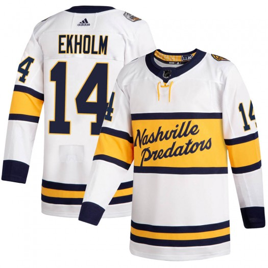 Mattias Ekholm Nashville Predators Youth Adidas Authentic White 2020 Winter Classic Jersey