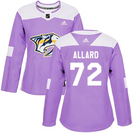 Frederic Allard Nashville Predators Women's Adidas Authentic Purple Fights Cancer Practice Jersey