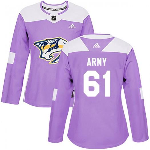 Derek Army Nashville Predators Women's Adidas Authentic Purple Fights Cancer Practice Jersey