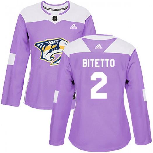 Anthony Bitetto Nashville Predators Women's Adidas Authentic Purple Fights Cancer Practice Jersey